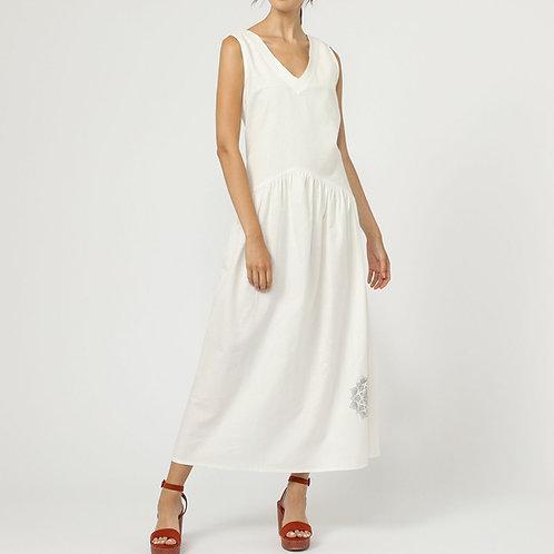 robe longue avec un décolleté V -LE15