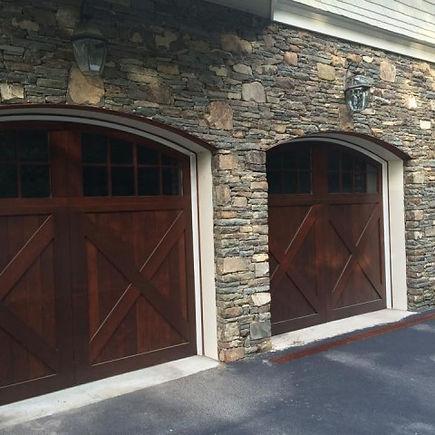 Restored wood garag doors in Savannah, GA.