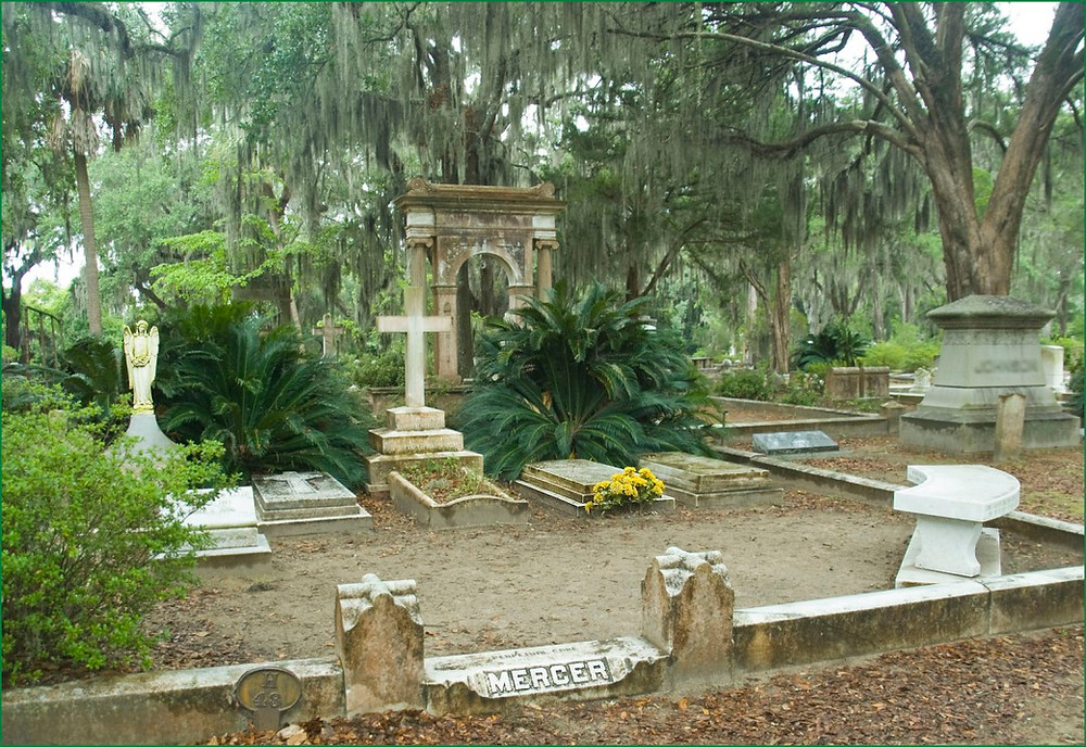Mercer grave at Bonaventure Cemetery. Midnight in the Garden of Good and Evil. Visit Bonaventure, Thunberbold, GA.