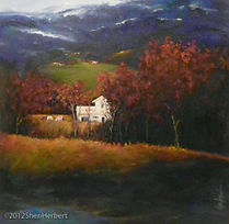 Farm House in mountains painting
