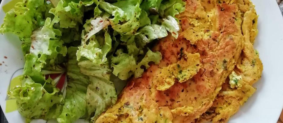 Omelette végétale et sa salade verte