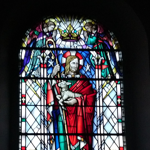 A 1950s stained glass window