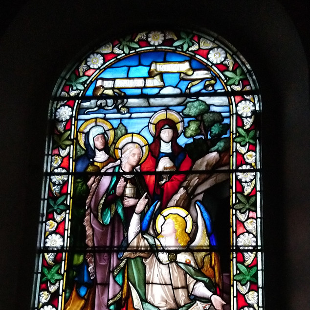 A beautiful backlit stained glass window