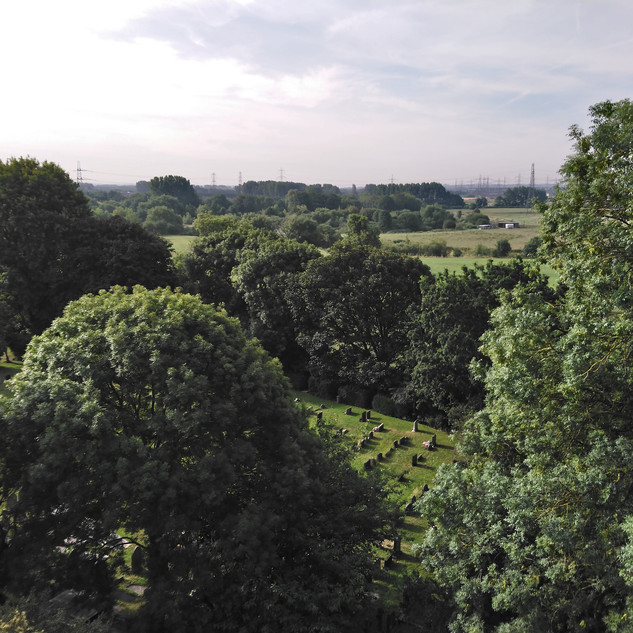 The view from the bell tower over the Mersey valley