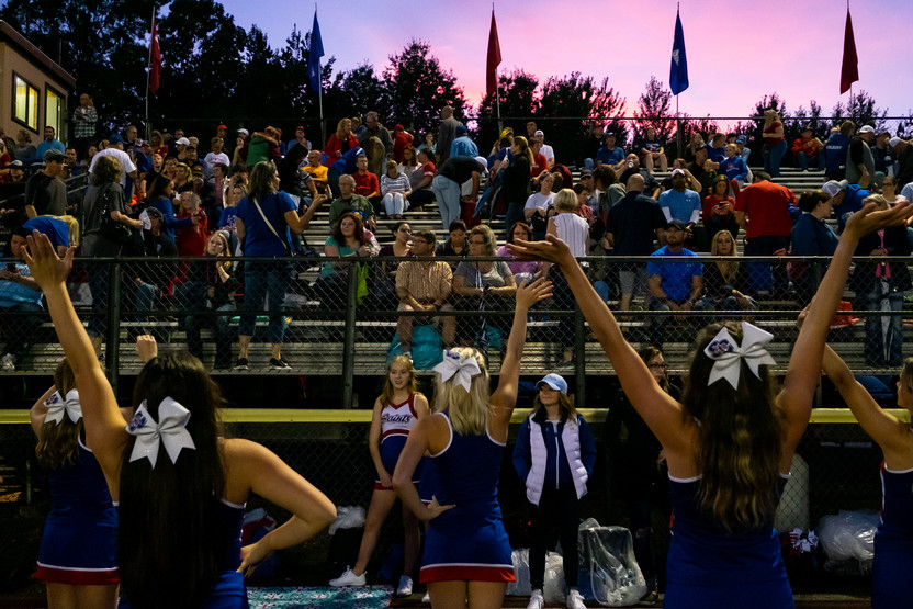 St. Clair's cheerleaders lead the crowd in a cheer before the start of St. Clair's game against Madison High School Friday, Sept. 13, 2019, at East China Stadium.  Taken on assignment for the Times Herald, September 2019.