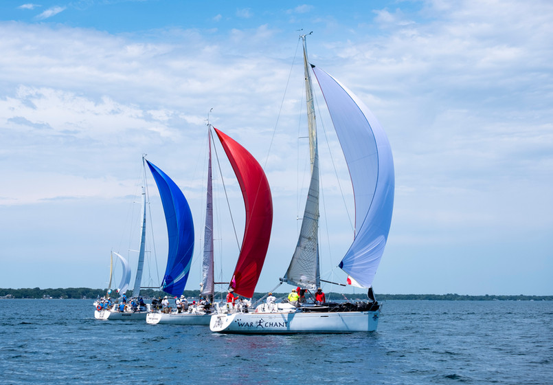 From left, the Blackhawk, Time Machine and War Chant compete in the 2019 Bell's Beer Bayview Mackinac Race Saturday, July 20, 2019, on Lake Huron.  Taken on assignment for the Times Herald, July 2019