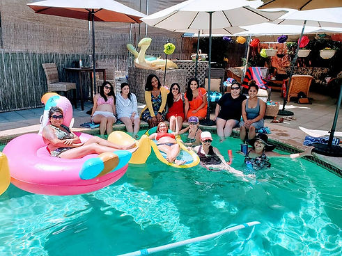 Pool party for surrogacy support group led by Kindred Surrogacy in Clovis, California