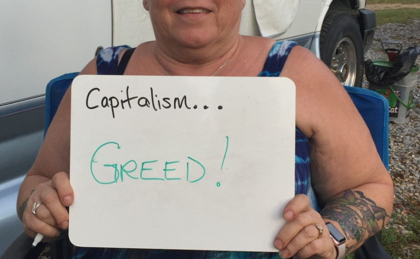 Talking about capitalism in Moodus, CT