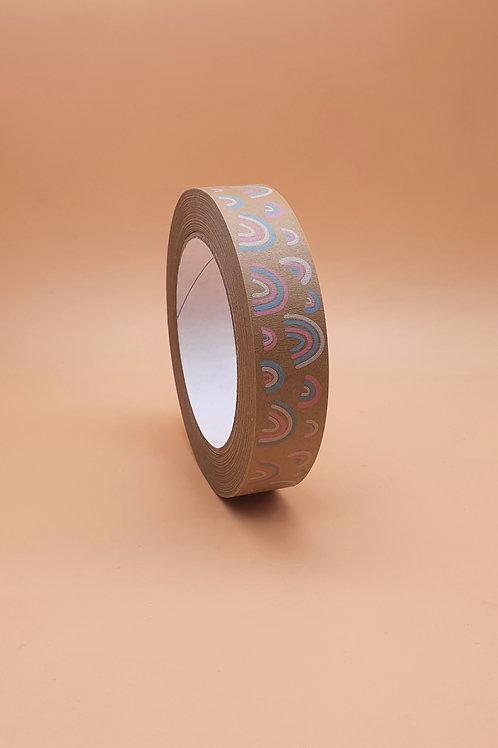 Rainbow Print Kraft Paper Eco Packaging Tape, Narrrow 24mm x 50m