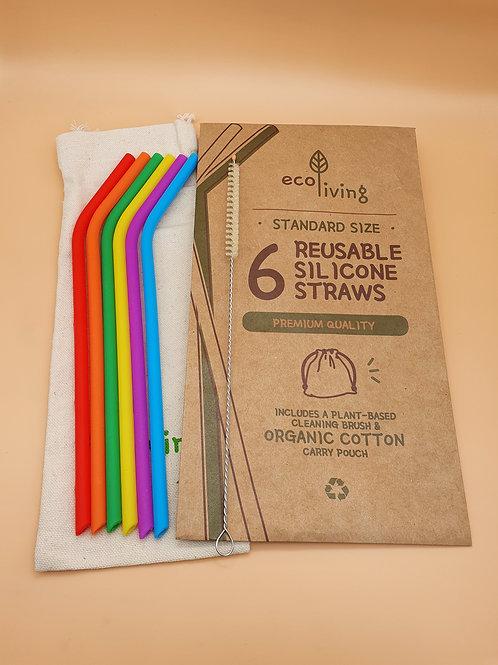 6 Reusable Rainbow-coloured STANDARD Silicone Straws & Brush - eco Living