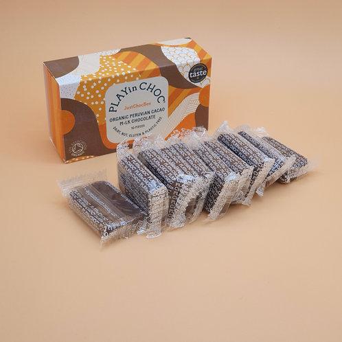 Vegan M.lk Chocolate, 100g - Peruvian Cacao Just Choc Box, PLAYin CHOC