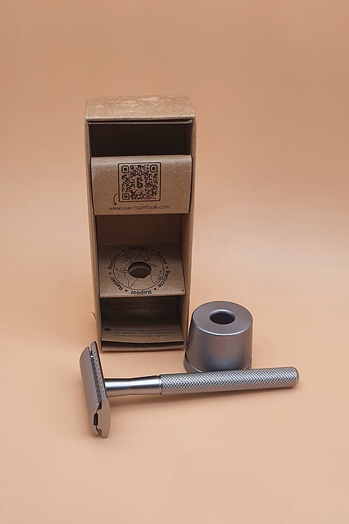 Stainless Steel Double-edged Safety Razor with stand, silver - Bambaw