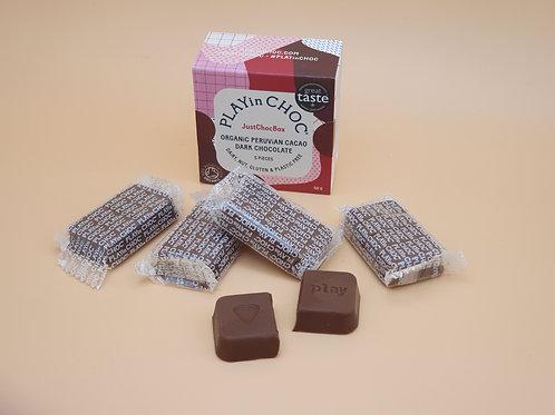 Vegan Dark Chocolate, 50g - Peruvian Cacao Just Choc Box, PLAYin CHOC