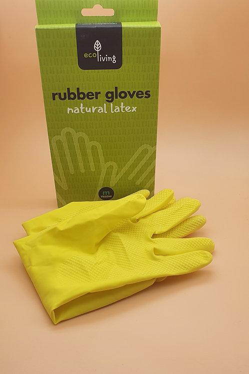 Yellow Medium Natural Latex Rubber Gloves