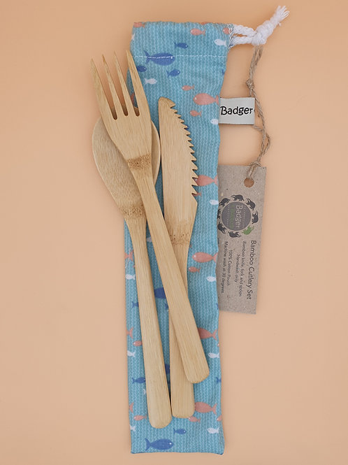 Bamboo Cutlery Set (Knife, Fork, Spoon) and Cotton Pouch