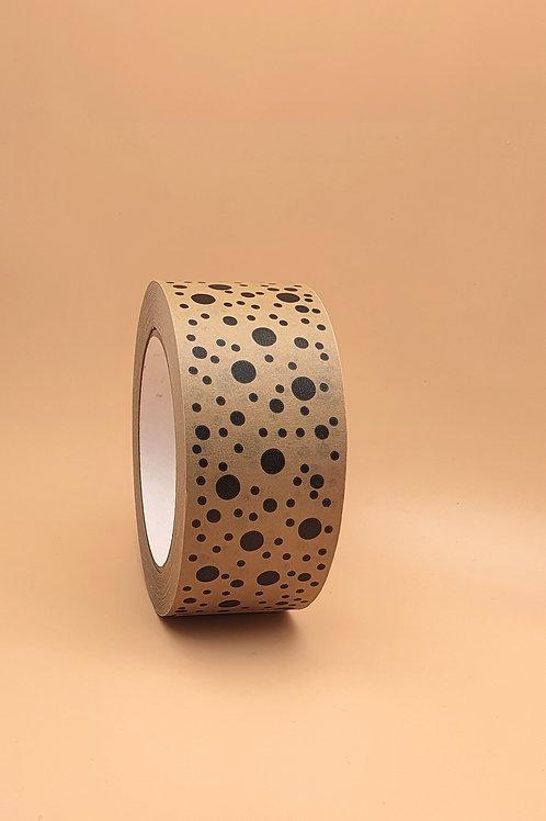 Black Dots on Brown Kraft Paper Eco Packaging Tape, Wide 48mm x 50m