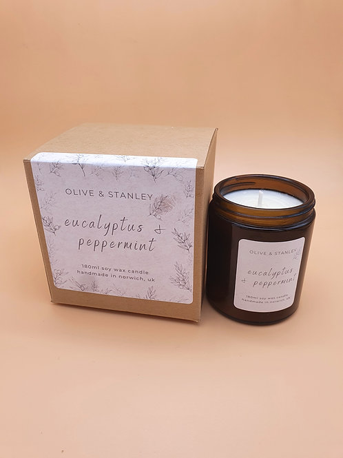 Peppermint and Eucalyptus Scented Soy Wax Candle