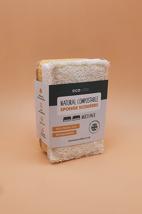 Compostable Sponge & Scourer Duo Pack, Ecovibe