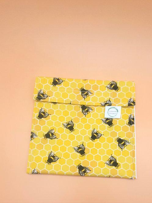 Large Yellow Bee Print  Reusable Snack Bag - Love Reusable