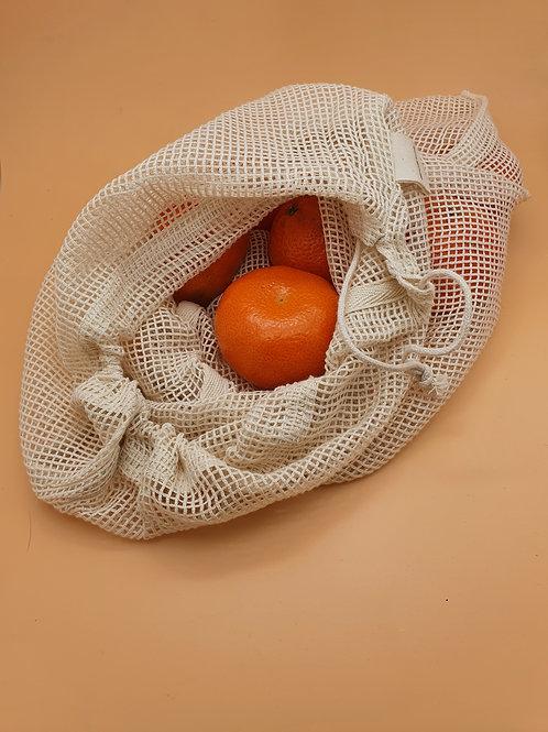 Large Organic Cotton Drawstring Wash/ Grocery Bag