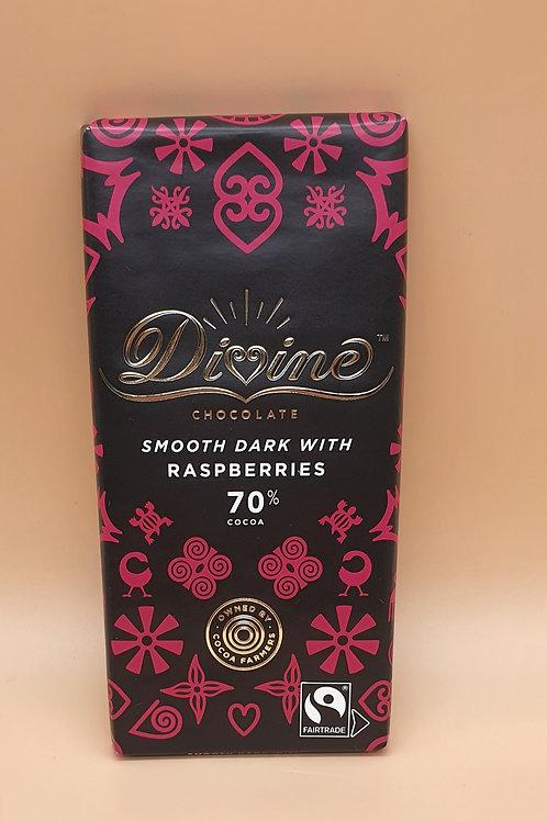 Raspberry Vegan Dark Chocolate Sharing Bar, 90g - Divine