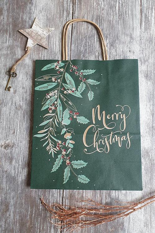 Medium Seasonal Paper Gift Bag, Green Foliage