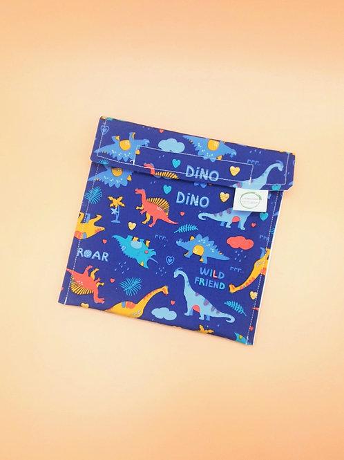 Blue Dinosaur Print Large Reusable Snack Bag - Love Reusable