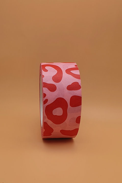 Pink & Red Leopard Print Kraft Paper Eco Packaging Tape, Wide 48mm x 50m