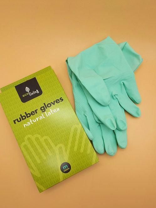 Green Medium Natural Latex Rubber Gloves