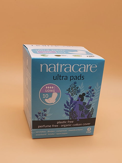 10 x Long Ultra Period Pads (heavy flow or overnight) - Natracare