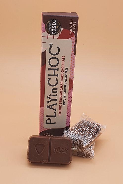 Vegan Dark Chocolate, 30g - Peruvian Cacao Just Choc Box, PLAYin CHOC