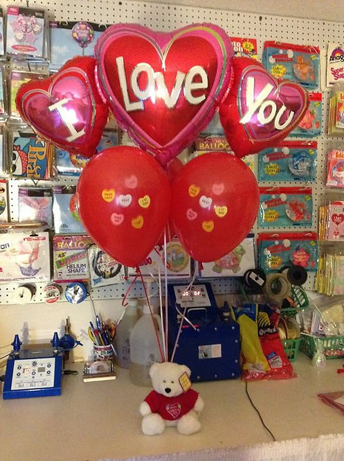 Valentines Bear and Balloons