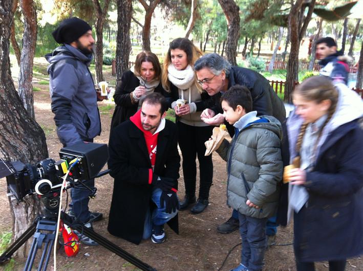 with Nikos Galanos actor during shooting