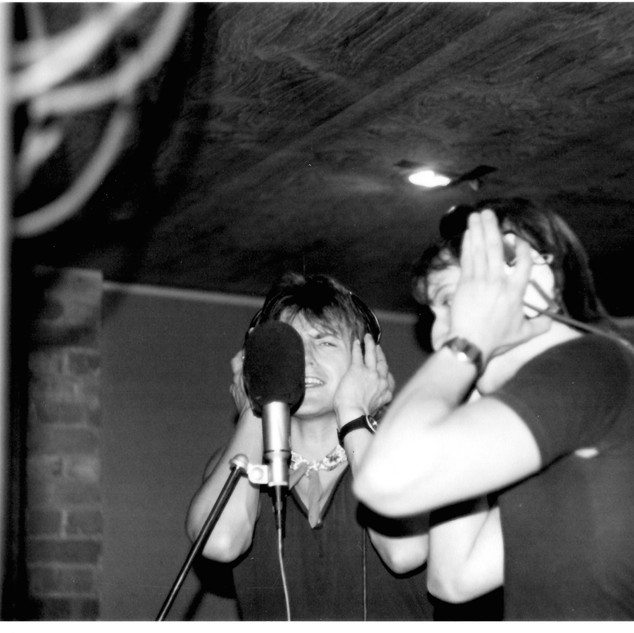 Phil Lewis and Steve T recording vocals.