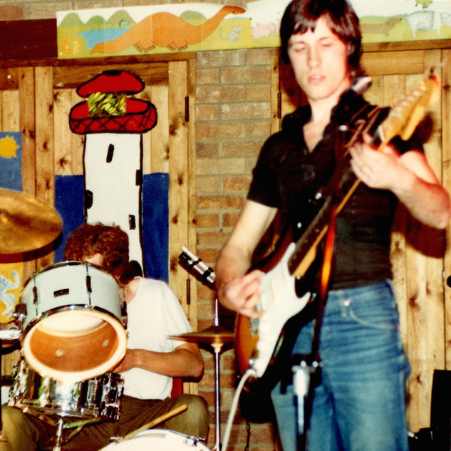 Ian and original drummer Steve Garner at an early rehearsal.