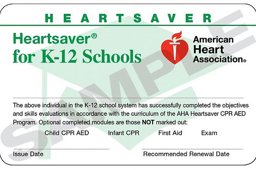 Heartsaver First Aid CPR AED K-12
