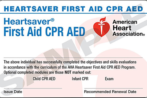 HeartSaver First Aid CPR AED (K-12 $75, ask for discount)