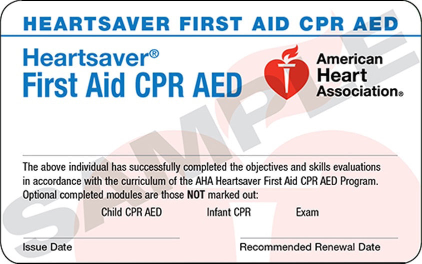 Heartsaver First Aid CPR AED - In Person