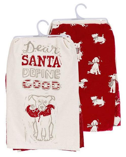 Dish Towel Set- DEAR SANTA DEFINE GOOD DOG