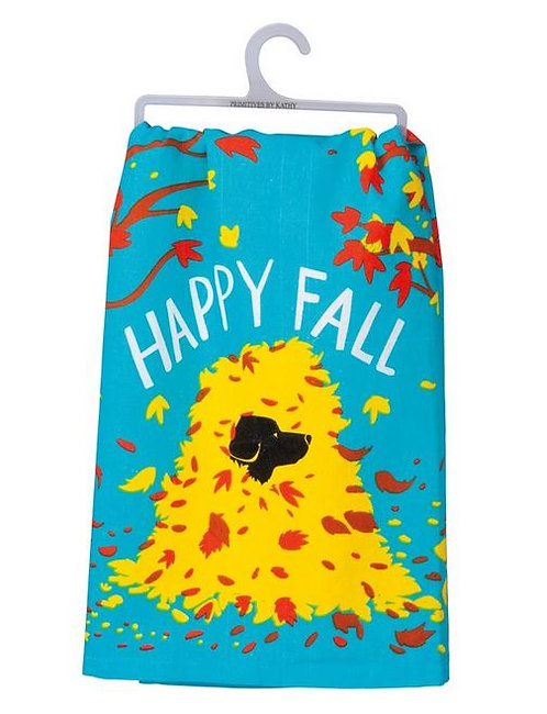 Dish Towel - HAPPY FALL Dog In Leaves