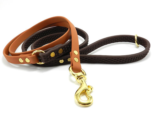 6' Two Part Leash with Brown Super Grip