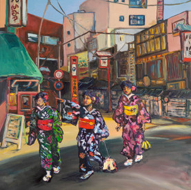 Kimono Ladies in Asakusa, Tokyo