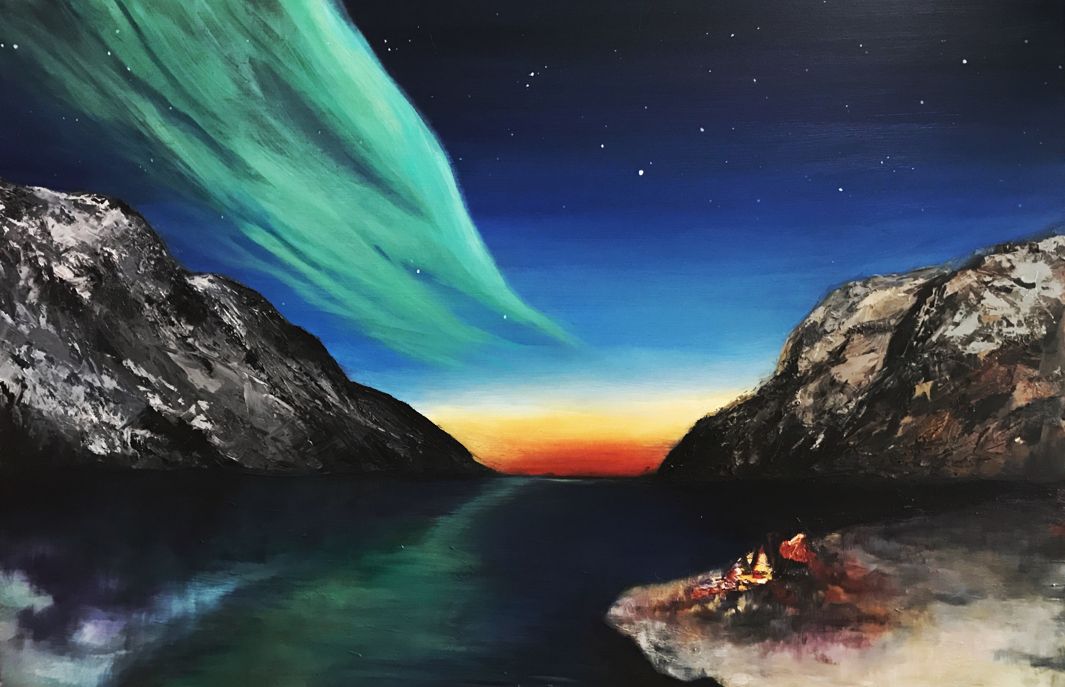 Bonfire with a Norwegian Aurora