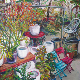 Plants and chairs at Flora Grubb