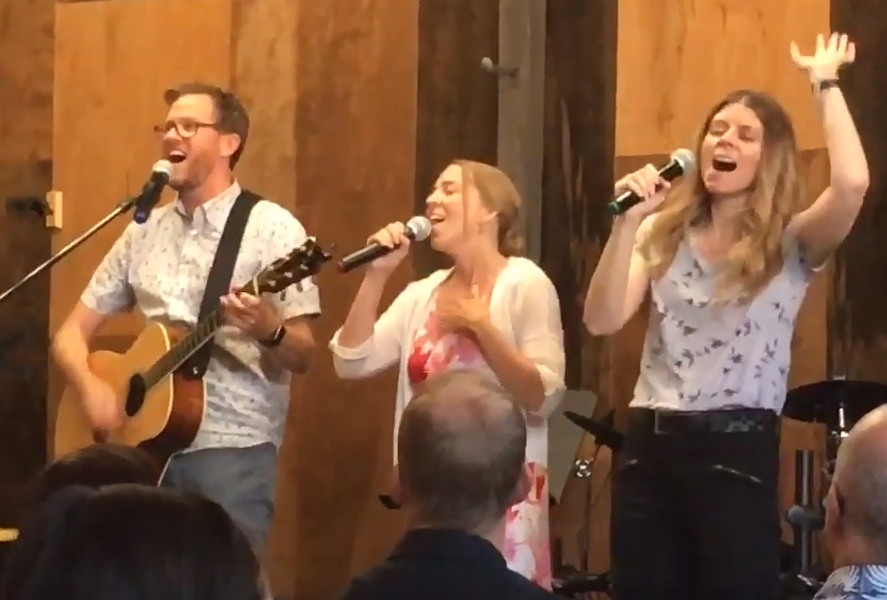 Singing with Worship Team at New Life City Church