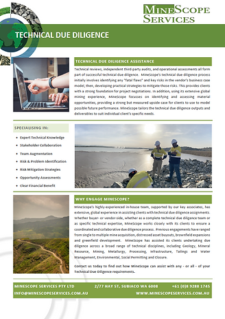 One Page Informtion Sheet covering MineScope Sevices' Technical Due Diligence Offerings