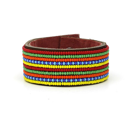 Multicolor Wide Beaded Cuff
