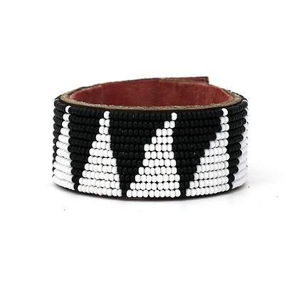 Black & White Triangle Wide Beaded Cuff