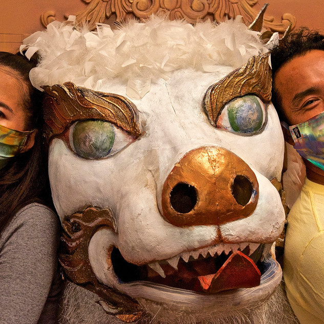 Tara of the Autumn Moon Silk Mask, Modeled by our Ladakhi Friends
