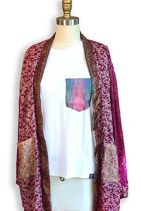 Bhukara Plum Silk Road Sari-Kimono